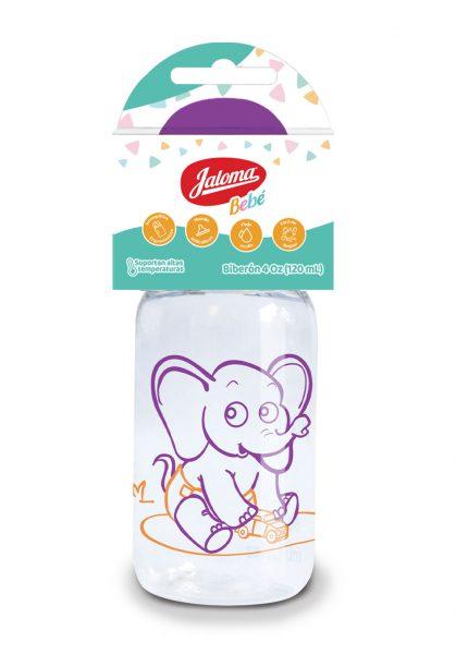 4 oz baby bottle with silicone nipple, purple