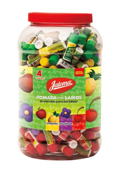 Pomada para labios, Vitrolero 4 sabores, 250 piezas