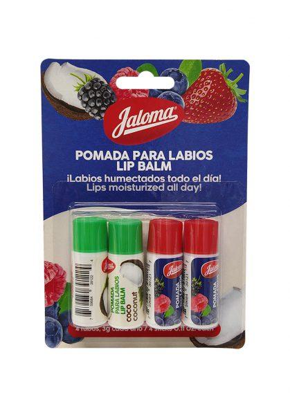 Pomada para labios, blister 2 sabores, 4 piezas