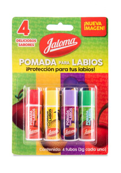 Pomada para labios, blister 4 sabores, 4 piezas